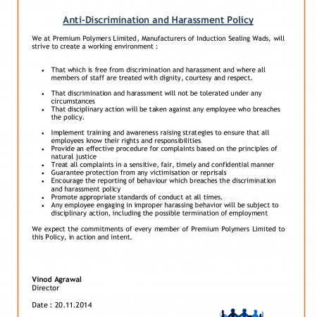 Anti discrimination and harassment policy