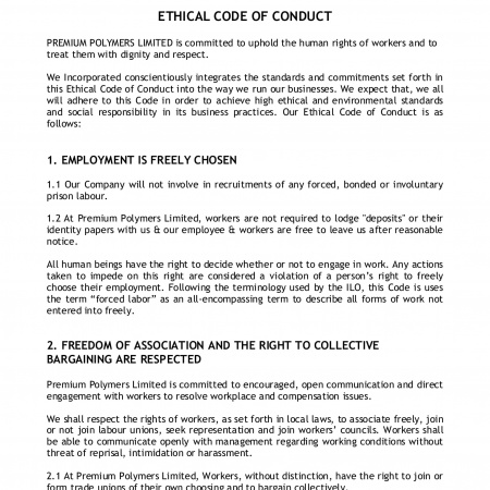 Ethical code of conduct